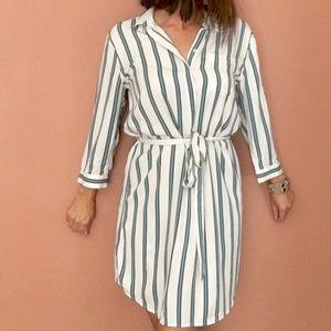 Loft Vertical Stripe Button Up Shirt Dress